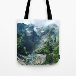 Mountain through the clouds Tote Bag