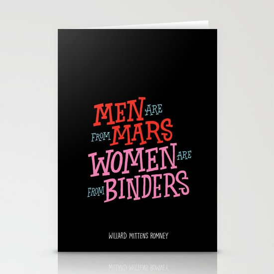 Men Are From Mars, Women Are From Binders Stationery Cards