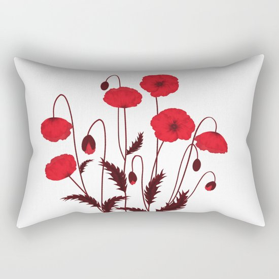 Bright floral pattern on a white background with decorative elements. Rectangular Pillow