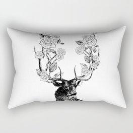 The Stag and Roses | Deer and Flowers | Vintage Stag | Vintage Deer | Antlers | Black and White | Rectangular Pillow