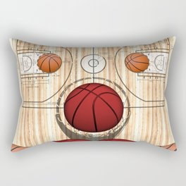 Colorful Red basketballs on a Basketball Court Rectangular Pillow