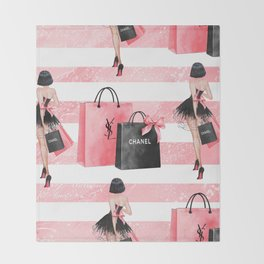 Fashion girl shopping Throw Blanket