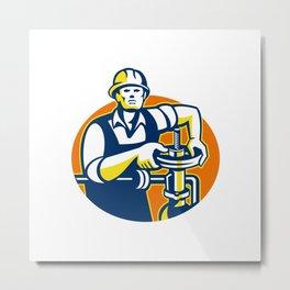 Pipefitter Oil Worker Tighten Pipe Valve Metal Print