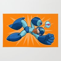 mega man Area & Throw Rugs featuring Mega Manly by Artistic Dyslexia