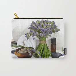 lavender spa (fresh lavender flowers, towel, essential oil, pebbles, Herbal massage balls) over whit Carry-All Pouch