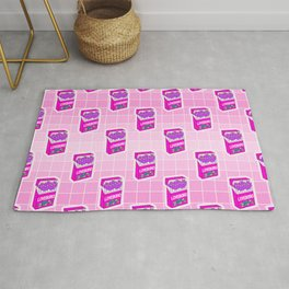 Loveboro cigarette packs pattern / girly stickers / pink grid Rug
