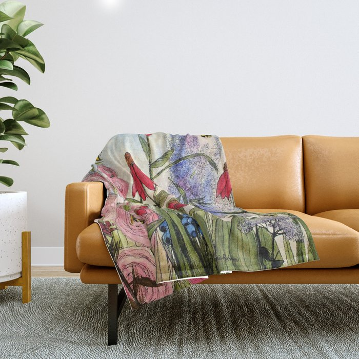Contemporary Cottage Garden Flower Painting  Throw Blanket