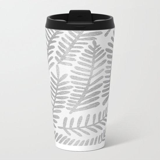 Silver Fronds Metal Travel Mug