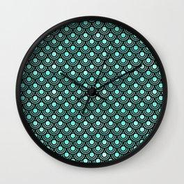 Mermaid Scales in Metallic Turquoise Wall Clock