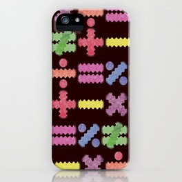 Seamless Colorful Abstract Mathematical Symbols Pattern II iPhone Case