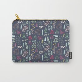 Winter leaves in blue Carry-All Pouch