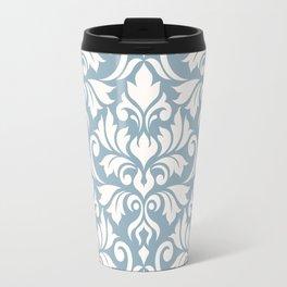 Flourish Damask Big Ptn Cream on Blue Travel Mug