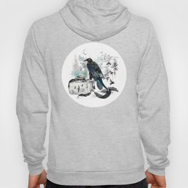 Blackwinged Birds Fly Past The Moonlit Raven's Eye Hoody