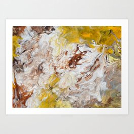 Brown, White and Yellow Abstract Art Art Print