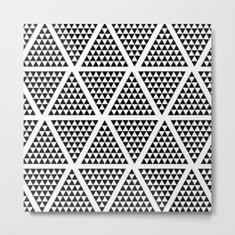Geometric Modern Black and White Pattern Metal Print