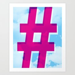 Hashtag in the Clouds Art Print