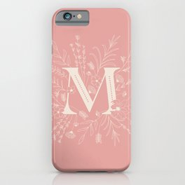 Botanical Letter M (Hibiscus Pink) iPhone Case