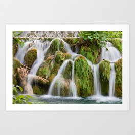 Grassy Waterfall With Tree Trunk Art Print
