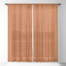 Colors of Autumn Terracotta Orange Brown Solid Color Sheer Curtain