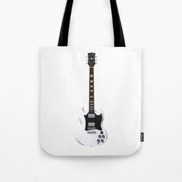 White Electric Guitar Tote Bag