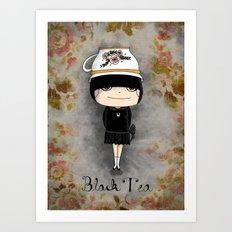 Black Tea Girl Art Print
