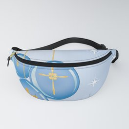 Shiny blue hanging eggs decorated with gold crosses Fanny Pack