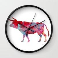 bull Wall Clocks featuring Bull by WatercolorGirlArt