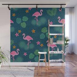 Bohemian nonchalance tropical flamingo pattern on dark background Wall Mural