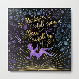 Books Fall Open - Gold Metal Print
