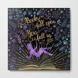 Books Fall Open - Gold Metal Print