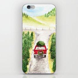 Christmas Tree Farm, Watercolor Art, Holiday, Winter iPhone Skin