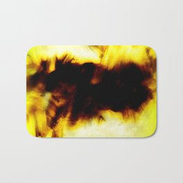 Hole In My Heart Black White Yellow Abstract Bath Mat