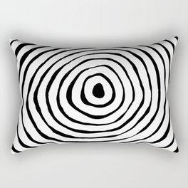 Black & White Minimalist Mid Century Abstract Ink Line Spiral Hypnotic Circle Rectangular Pillow