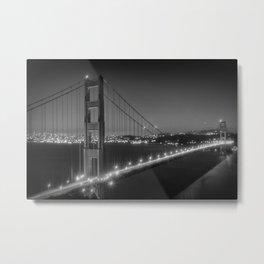 Evening Cityscape of Golden Gate Bridge | Monochrome Metal Print
