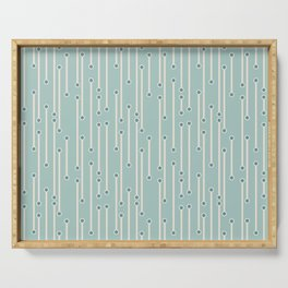 Dotted lines in cream, teal and sea foam Serving Tray