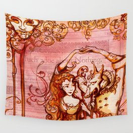 Much Ado About Nothing - Masquerade - Shakespeare Folio Illustration Wall Tapestry