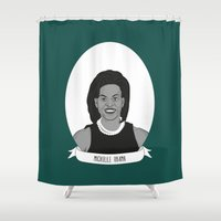obama Shower Curtains featuring Michelle Obama by Illustrated Women in History