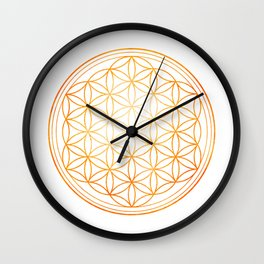 Sacral Orange Watercolor Flower of Life Wall Clock