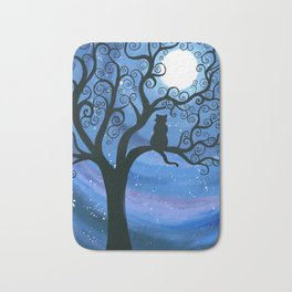 Meowing at the moon - moonlight cat painting Bath Mat