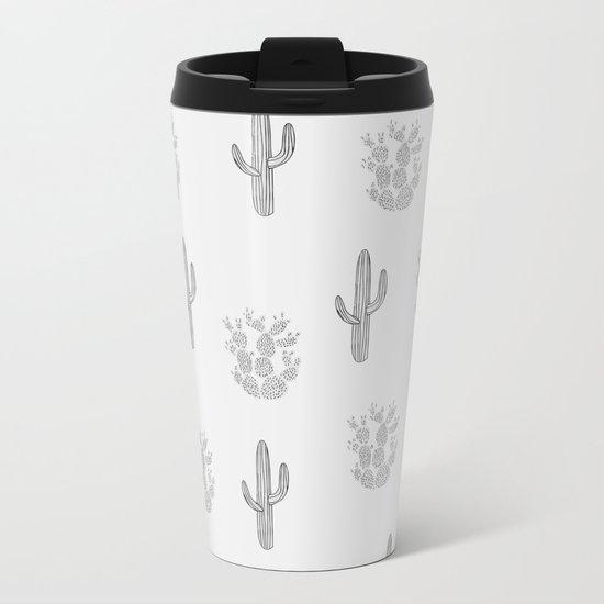 Cactus Pattern Metal Travel Mug