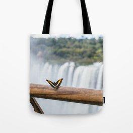 Butterfly over Iguazu Falls, Argentina Tote Bag