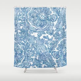 Blue Boho Paisley Pattern II Shower Curtain