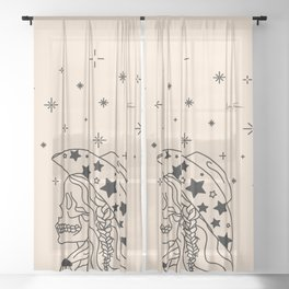 Love or Die Tryin' - Rhinestone Cowgirl Black & Cream Sheer Curtain