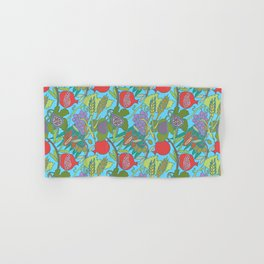 Seven Species Botanical Fruit and Grain with Aqua Background Hand & Bath Towel