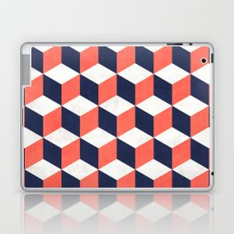 Geometric Cube Pattern  - Coral, White, Blue Concrete Laptop & iPad Skin