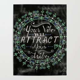 'Your Vibe Will Attract Your Tribe' Quote Mandala Marble Black Poster