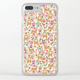Shiba Inu floral dog must have gifts for shiba lovers florals dog breed Clear iPhone Case