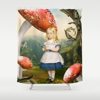 alice Shower Curtains featuring Alice by Diogo Verissimo