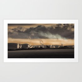 Sunrise over the steel works of Port Talbot and Swansea Bay Art Print