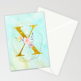Gold Foil Alphabet Letter X Initials Monogram Frame with a Gold Geometric Wreath Stationery Cards